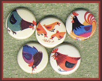 """5 nice lil Chicken set 1"""" inch buttons, medallions or magnets SET D"""