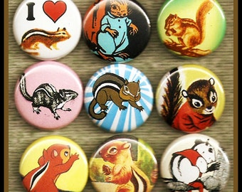 """9 rambunctious Chipmunks 1"""" inch buttons, medallions or magnets SET A"""