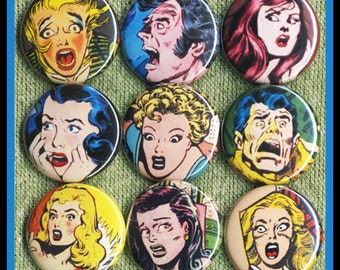 """9 Scared COMIC BOOK girls 1"""" inch buttons, medallions or magnets SET B"""