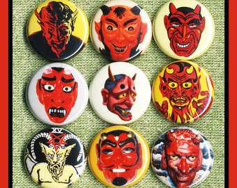 "9 DEVIL satan EVIL 1"" inch buttons, medallions or magnets SET A"