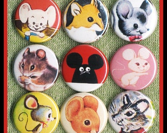 """9 sweet vintage MICE 1"""" inch buttons, medallions or magnets SET A"""