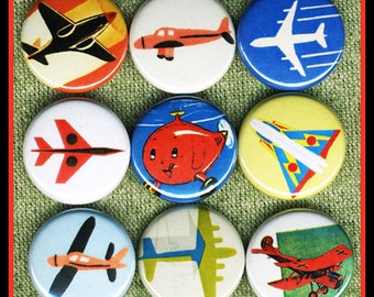 """9 little AIRPLANES 1"""" inch buttons, medallions or magnets SET A"""