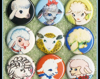 """9 adorable SHEEP 1"""" inch buttons, medallions or magnets SET A"""