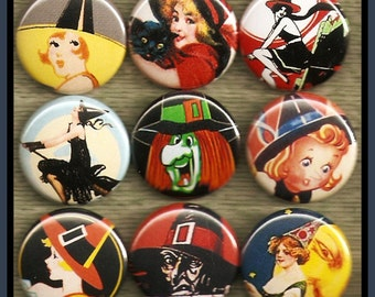 """9 vintage SPOOKY halloween WITCH 1"""" inch buttons, medallions or magnets SET B"""