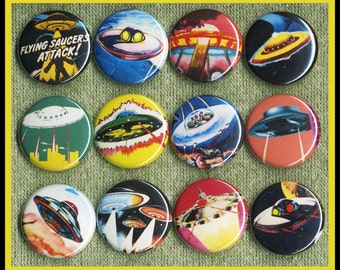 """12 awesome UFO's 1"""" inch buttons, medallions or magnets SET A"""