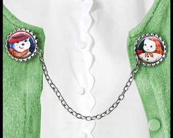 SNOWMAN and SNOWOMAN Sweater Guard Clip