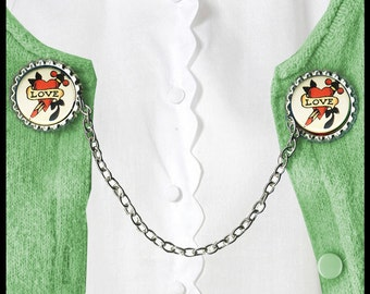 vintage TATTOO art LOVE Sweater Guard Clip