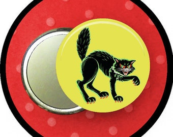 """Halloween CAT 2.25 inch pocket MIRROR, button or magnet 2 1/4"""" size"""