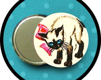 "cute KITTY with Pink Bow  2.25 inch pocket MIRROR, button or magnet 2 1/4"" size"