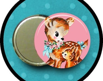 "Mother and Child DEER 2.25 inch pocket MIRROR, button or magnet 2 1/4"" size"