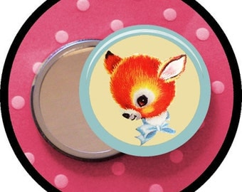 "CUTE FaWn 2.25 inch pocket MIRROR, button or magnet 2 1/4"" size"