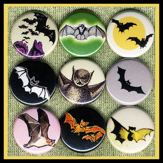 """9 spooky BATS 1"""" inch ROCKABILLY buttons, medallions or magnets SET B"""