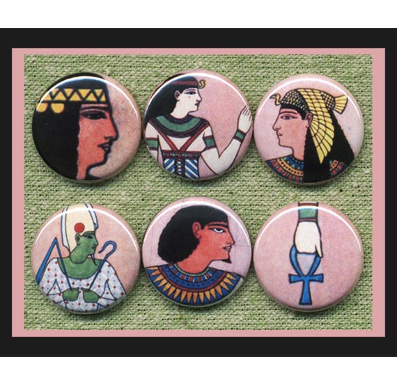 "6 Egyptian 1"" inch buttons, medallions or magnets"