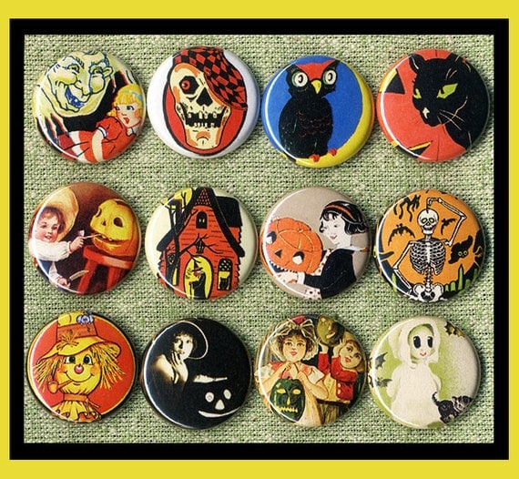 """12 vintage scary HALLOWEEN 1"""" inch buttons, medallions or magnets SET B"""