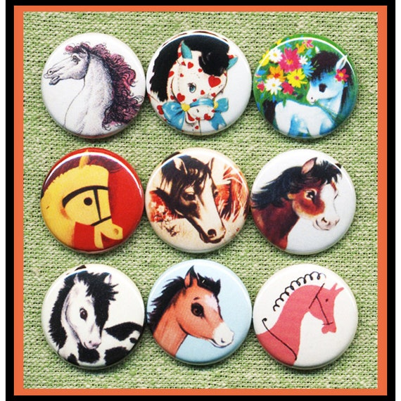 """9 vintage cute HORESES 1"""" inch buttons, medallions or magnets SET A"""