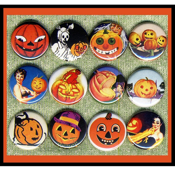 "9 spooky JACK O LANTERN Pumpkins 1"" inch buttons, medallions or magnets SET C"