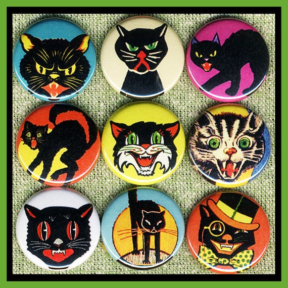 """9 Scary halloween CATS 1"""" inch buttons, medallions or magnets SET B"""