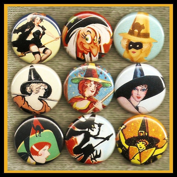 "9 vintage HALLOWEEN witch 1"" inch buttons, medallions or magnets SET A"