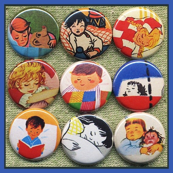 "9 time for BED sleepy KIDS 1"" inch buttons, medallions or magnets SET A"