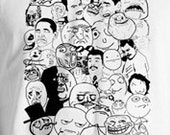 Rage Comics Meme Collage T-Shirt  Troll Face, Me Gusta, NPH. Forever Alone and More.