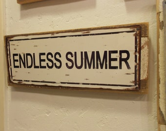 Recycled wood framed metal street sign- Endless Summer