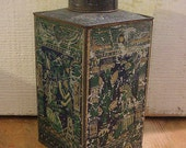 Lovely Antique Cocoa Tin with Egyptian Theme Late 1800s Vintage Distressed Patina