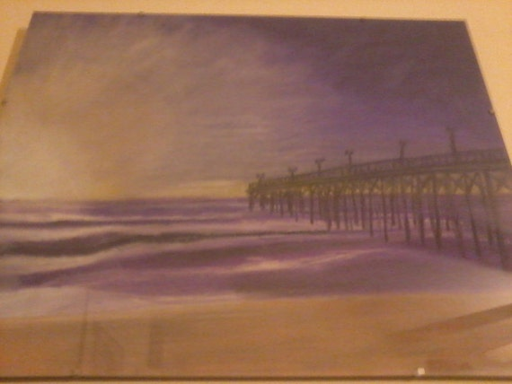 Pier Side Sunrise pastel 20 x 16 framed in glass