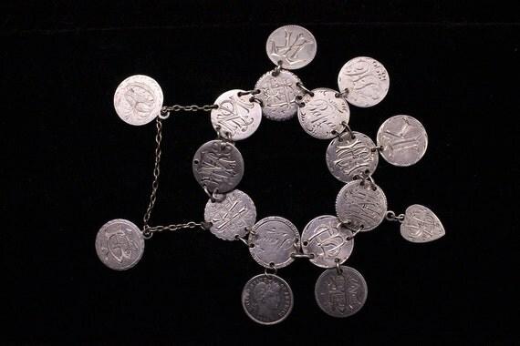 LAYAWAY - Incredible, Antique Love Token Bracelet (silver coins dated 1883-1892)