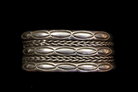 RESERVED - American Indian Sterling Silver Cuff Bracelet with Stamped Motif
