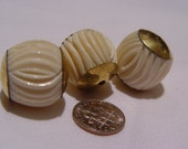 VIntage Bone beads, 1970's hand carved 22x22 mm