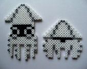 Set of 2 8-bit Blooper Squid Sprites Perler Beads NES Old school Super Mario Brothers