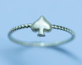 Spade Ring in Sterling Silver, silver twisted ring