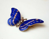 Reserved ////  For Sue  //// 4th  & final payment /// Victorian Revival Sterling Silver Enameled Blue Butterfly