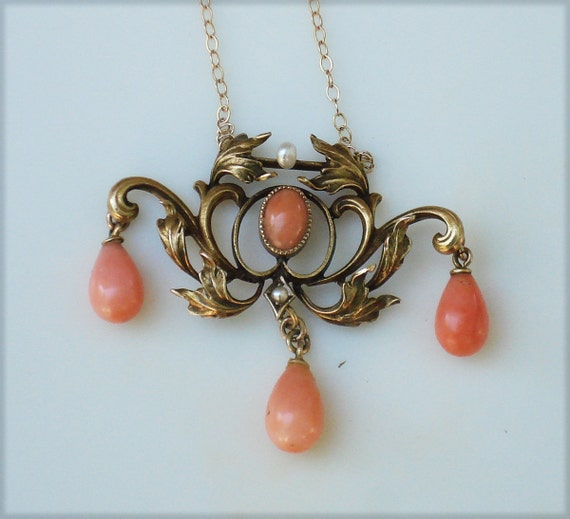 Victorian Art Nouveau 10K Gold Pendant with Coral and Pearls