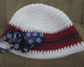 Finished Product: Red white and blue crochet hat with patriotic butterfly ribbon 3-6 months