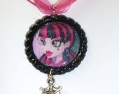 Monster High Draculaura glitter with bat charm bottle cap necklace