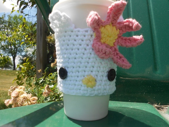 Hello Kitty-like Coffe Cup Cozy or Sleeve