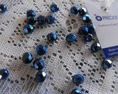20 Dark Blue Czech Beads 6mm