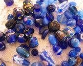 20 Mixed Glass Beads in Blue