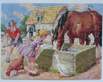Vintage wooden 72 p jigsaw puzzle by illustrator Nat Long