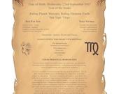Personal Horoscope Gift Scroll Profile Digital PDF Version