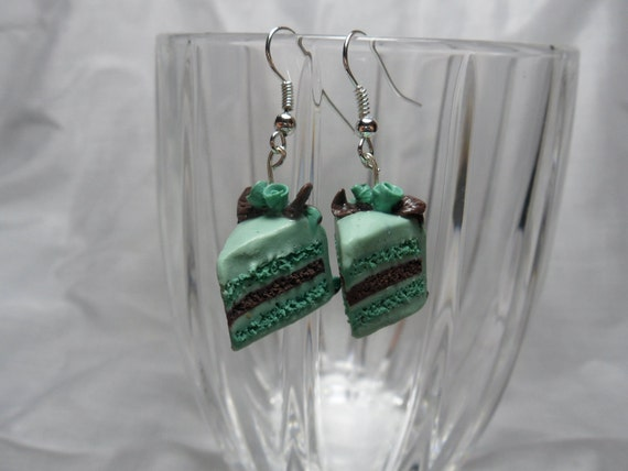 Mint Chocolate Layered Cake Earrings with Rose Decoration miniature food