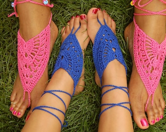 JUST BARE IT Beach Pool Yoga Barefoot Sandals Neon Pink and Electric Blue