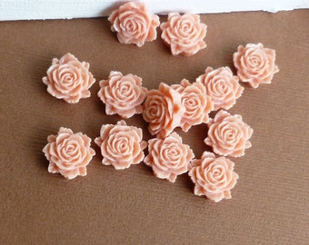 Peachy - Pink Resin Cabochon Rose 12mm Light Coral Flat Flower... 12 Pieces
