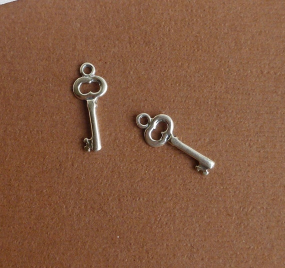 Sterling Silver Key Charms -- Two Pieces -- 925 Sterling Skeleton Keys Pendants Findings