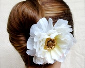 "Wedding Hair Accessory, Vintage Gold, Bridal Hair Flower, Light Ivory Fascinator, Peony Hair Clip, Antique Wedding - ""Springtime in Winter"""