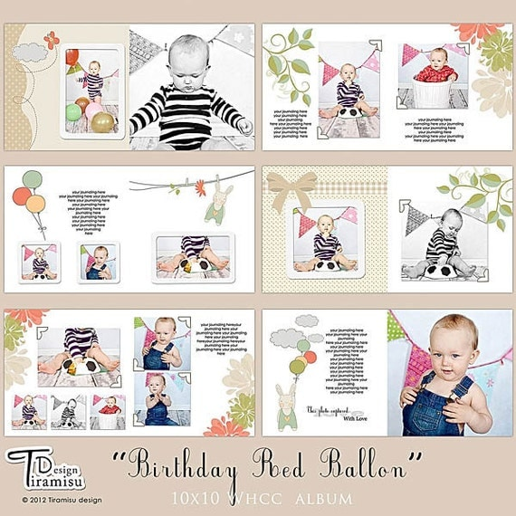 10x10 whcc photobook album photoshop templates birthday red balloon