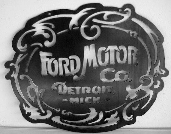 Original Ford Motor Co Logo Steel Sign Garage Art Nouveau