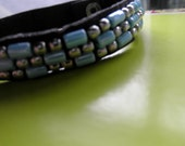 Turquoise Glass and Silver Beading Woven into a Leather Bracelet w/ Small Circular Clasp