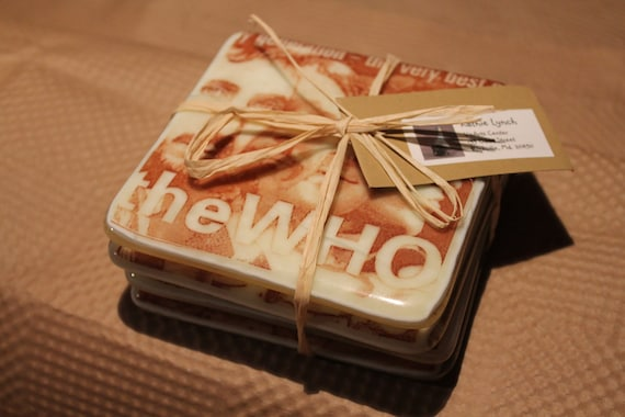 """Set of four """"The Who"""" coasters"""
